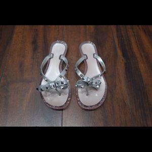 Valentino Argento Silver Rockstud Sandals 39